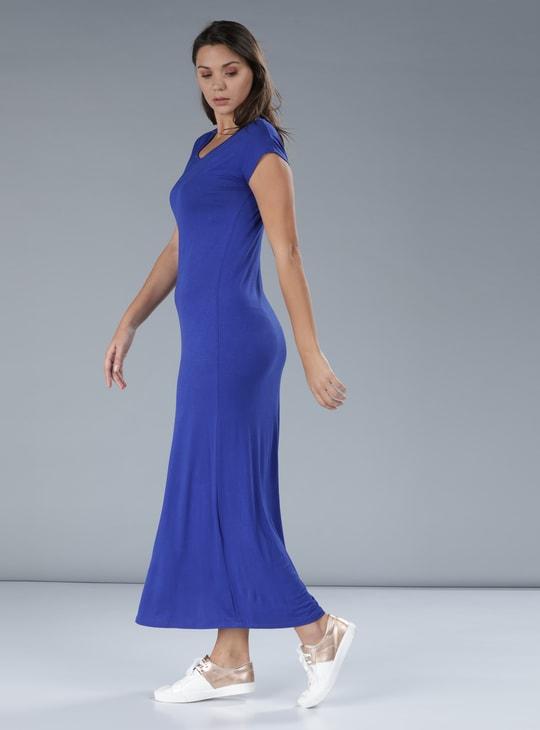 V-Neck Maxi Dress with Cap Sleeves