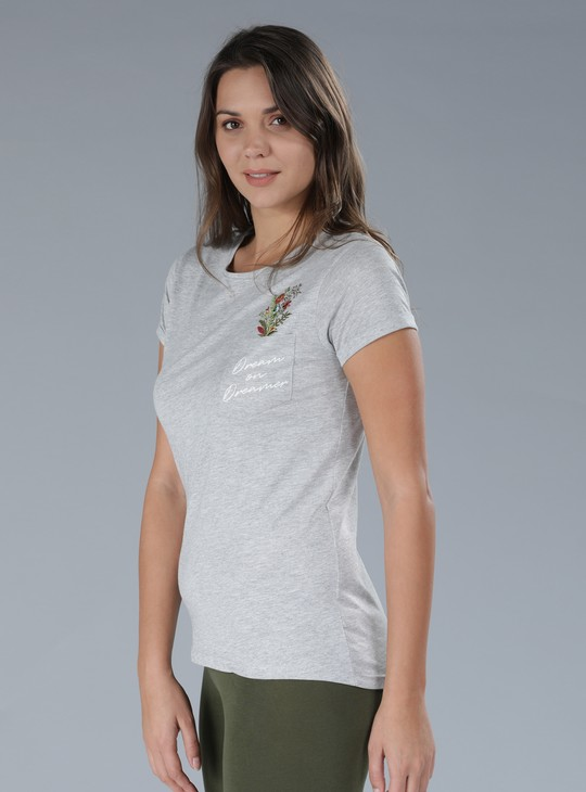 Embroidered T-Shirt with Round Neck and Cap Sleeves
