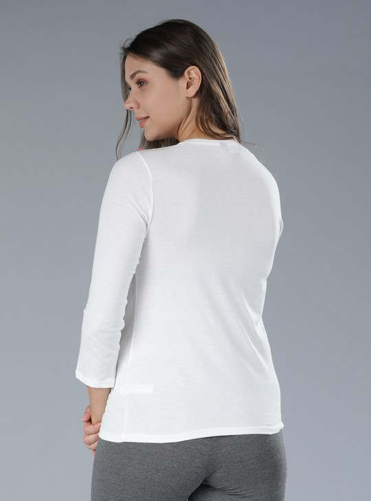 Embroidered T-Shirt with Round Neck and 3/4 Sleeves