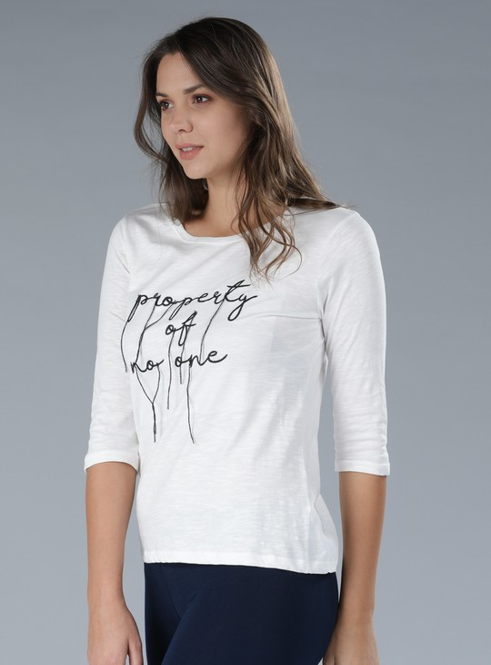 Embroidered 3/4th Sleeves T-Shirt