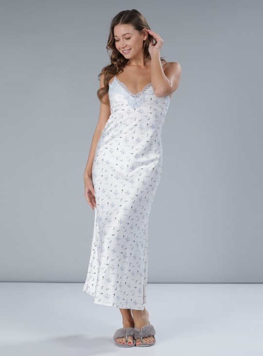 Printed Sleepgown with Spaghetti Straps and Lace Detail