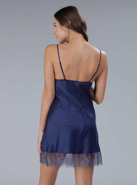 Sleep Dress with Spaghetti Straps and Lace Detail