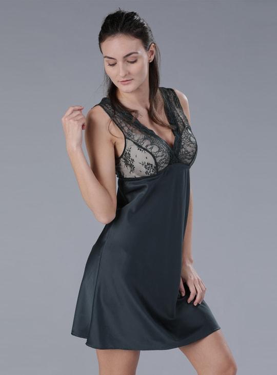 Sleeveless Sleep Dress with Lace Detail