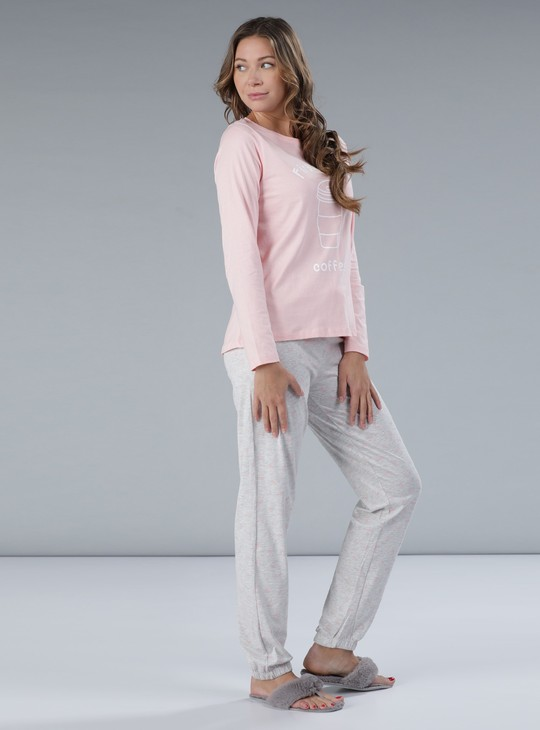 Printed Round Neck T-Shirt and Full Length Jog Pants
