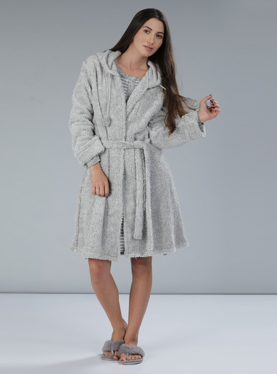 Plush Robe with Long Sleeves and Tie Up