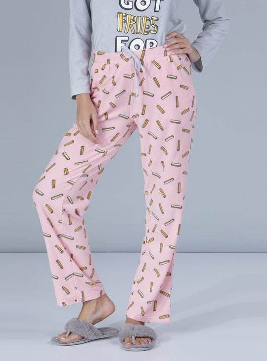 Printed Round Neck T-Shirt with Pyjama Set