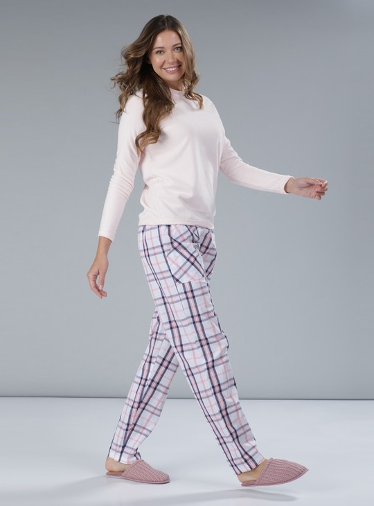 Chequered Full Length Pyjama with Patch Pockets
