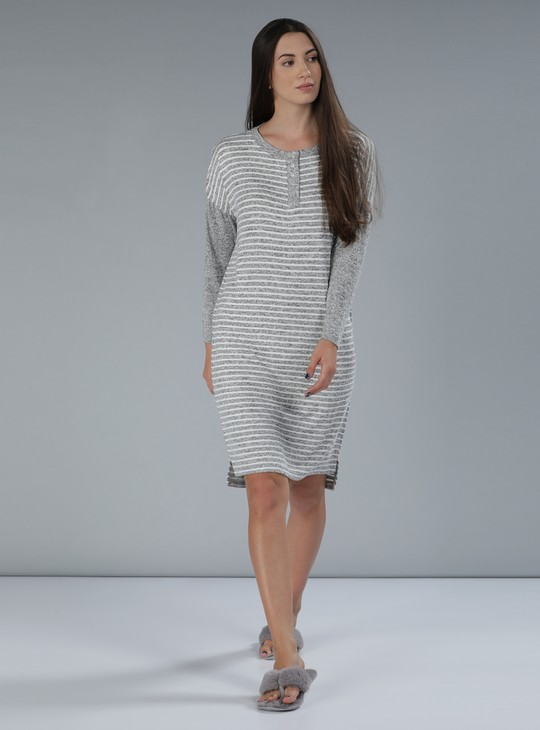 Striped Sleep Dress with Long Sleeves