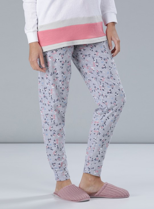 Printed Full Length Pyjamas with Elasticised Waistband and Drawstring