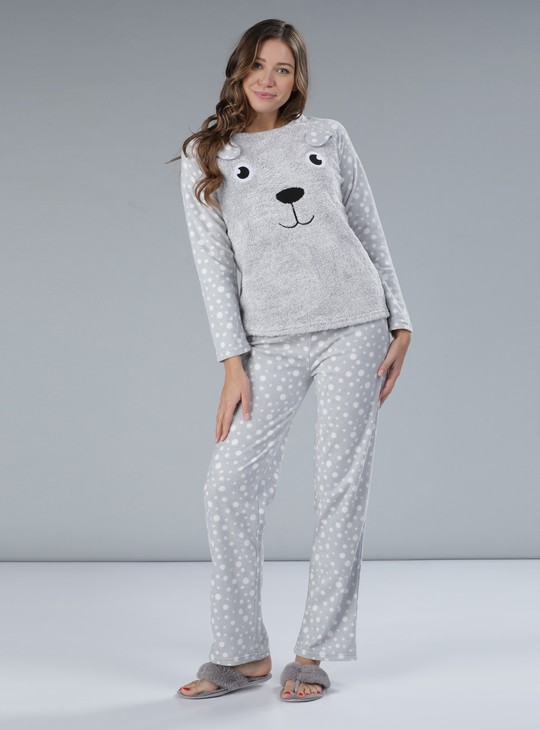 Plush Detail Long Sleeves T-Shirt and Pyjama Set
