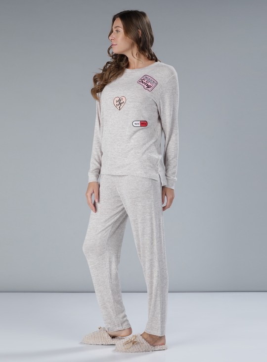 Embroidered T-Shirt and Pyjama Set