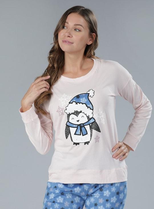 Printed Round Neck T-Shirt and Full Length Pyjama Set