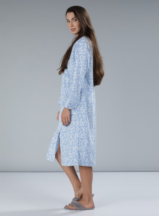 Floral Print Gown with Long Sleeves