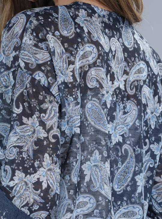 Printed Open Front Shrug with Short Sleeves
