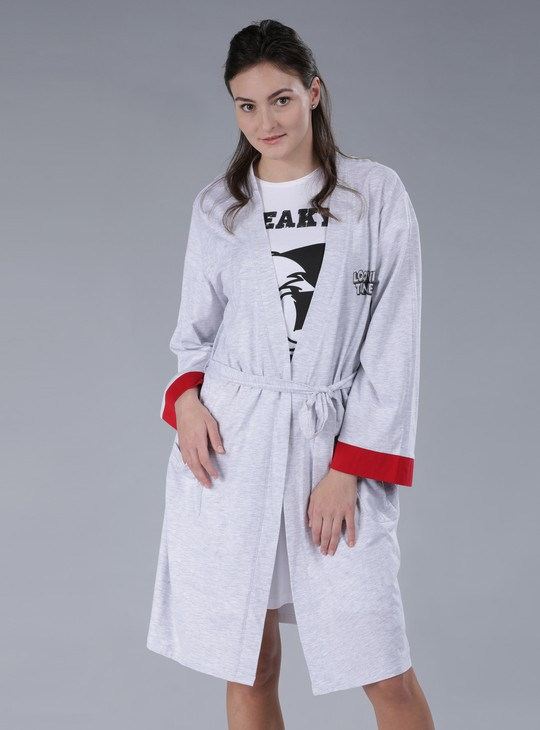 Looney Tunes Printed Robe with Long Sleeves