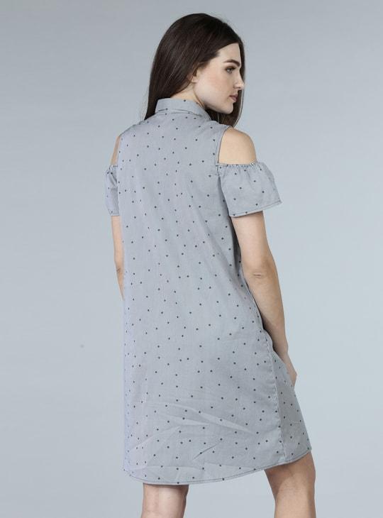 Printed Midi Shirt Dress with Cold Shoulder