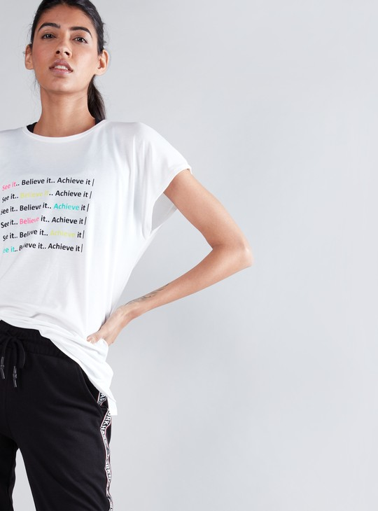 Slogan Printed Oversized T-Shirt with Round Neck and Short Sleeves