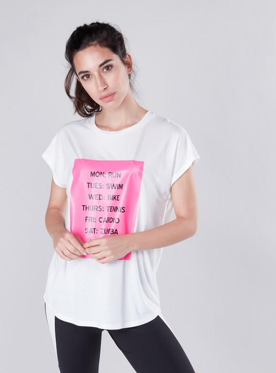 Printed T-shirt with Round Neck and Extended Sleeves
