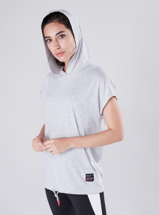Solid T-shirt with Hood and Neon Rubber End