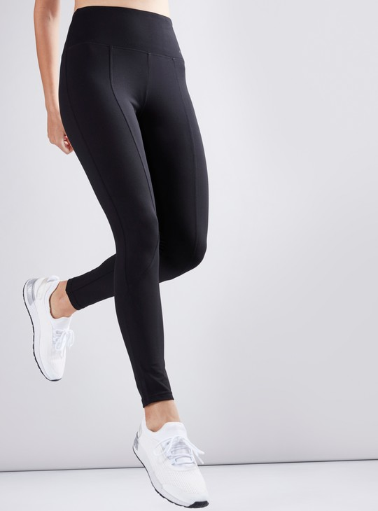Stitched Panel High Waist Leggings