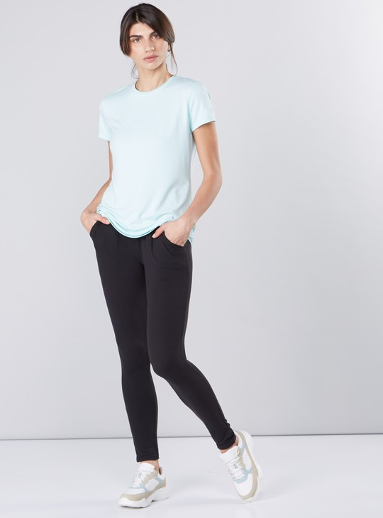 Round Neck T-Shirt in Slim Fit with Short Sleeves