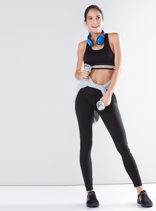 Tape Detail Sports Bra with Scoop Neck