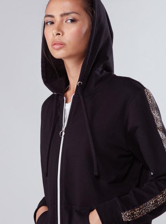 Printed Tape Detail Hooded Jacket with Zip Closure