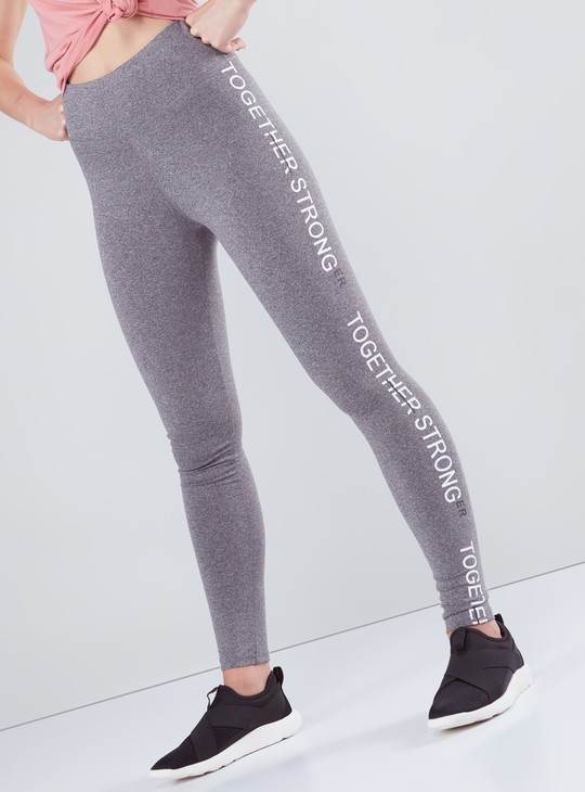 Full Length Leggings with Text Printed Tape Detail