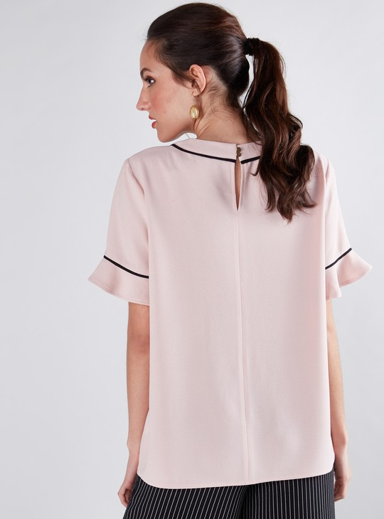 Round Neck Top with Flounce Sleeves and Piping Detail