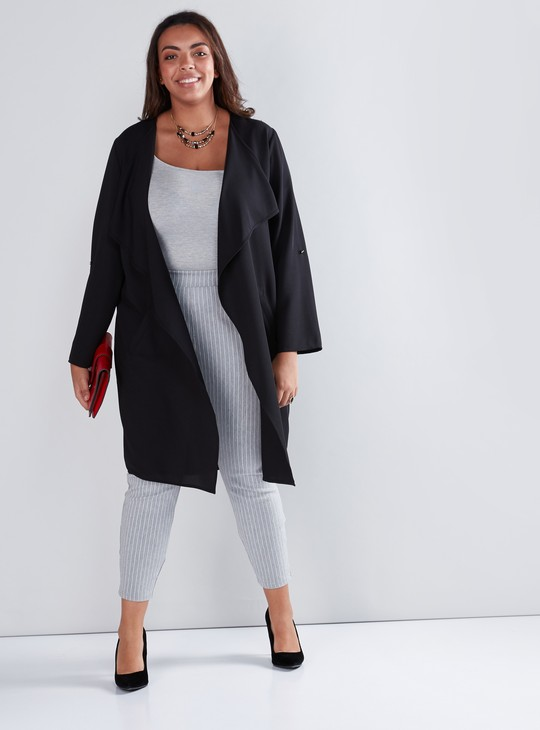 Open Front Waterfall Shrug with Long Sleeves and Pocket Detail