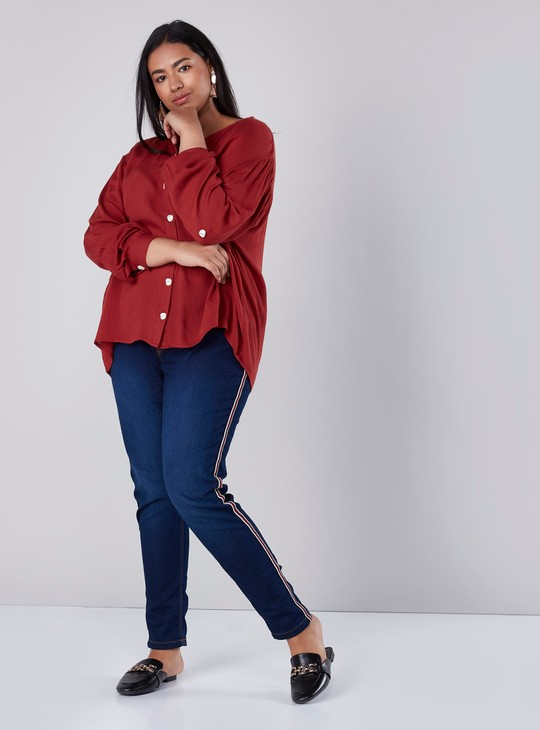 Textured Shirt with Long Sleeves in Regular Fit