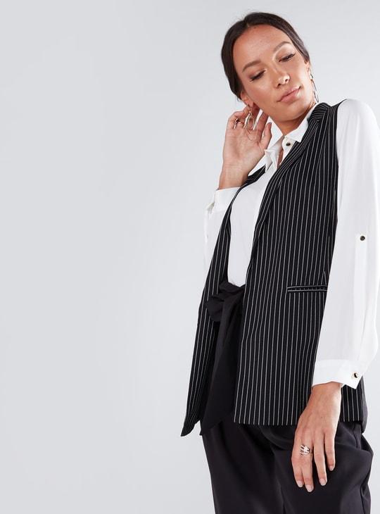 Striped Sleeveless Jacket with Pocket Detail