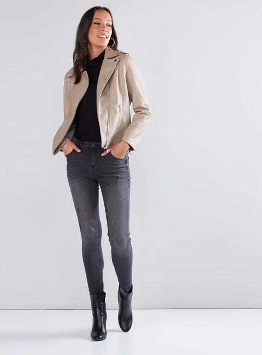 Textured Biker Jacket with Zip Closure and Pocket Detail