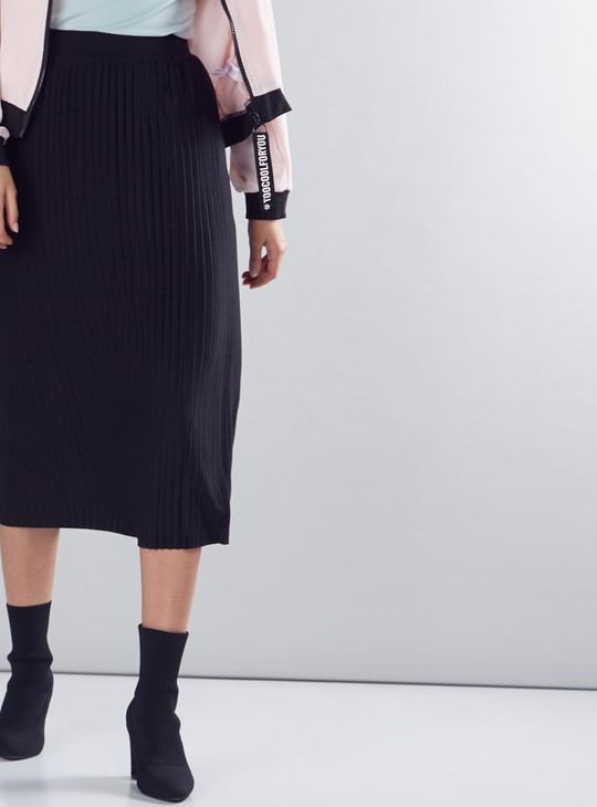 Midi A-Line Pleated Skirt with Elasticised Waistband
