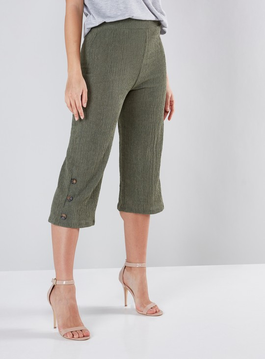Mid-Waist Textured Culottes with Button Detail