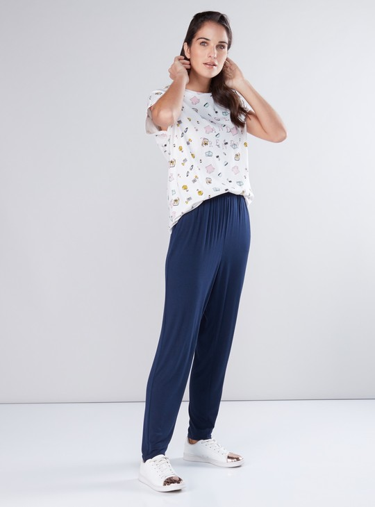 Full Length Harem Pants with Pocket Detail and Elasticised Waistband