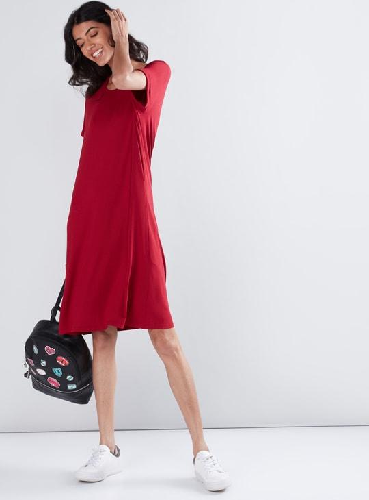 Round Neck Midi Shift Dress with Short Sleeves