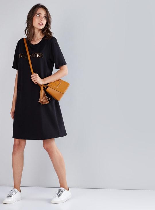 Applique Detail T-Shirt Dress with Round Neck