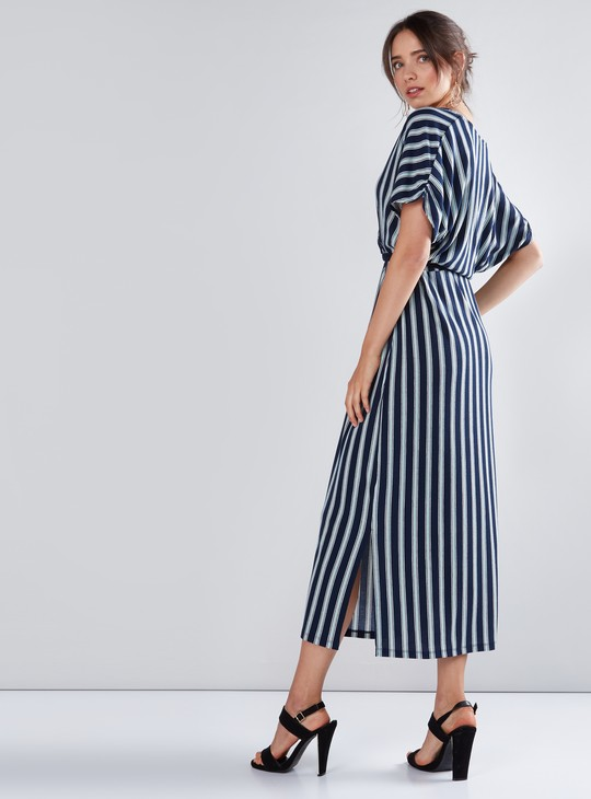 Striped Midi Dress with Extended Sleeves and Tie Ups