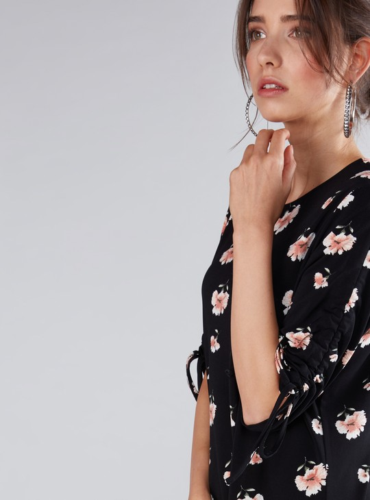 Floral Printed Shift Dress with Ruching Detail Sleeves