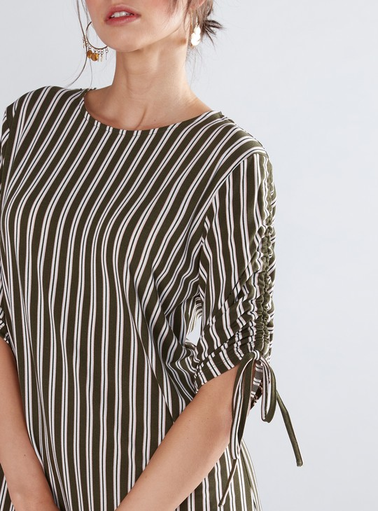Striped Shift Dress with Ruching Detail