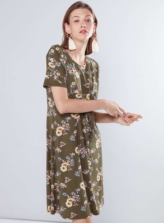 Floral Printed A-Line Dress with Knot Detail and Short Sleeves