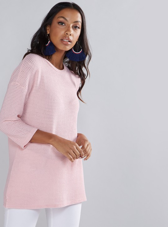 Openwork Sweater with Round Neck and 3/4 Sleeves