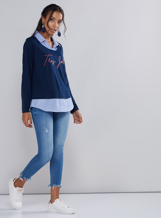 Printed Long Sleeves Top with Striped Mock Collar and Hem