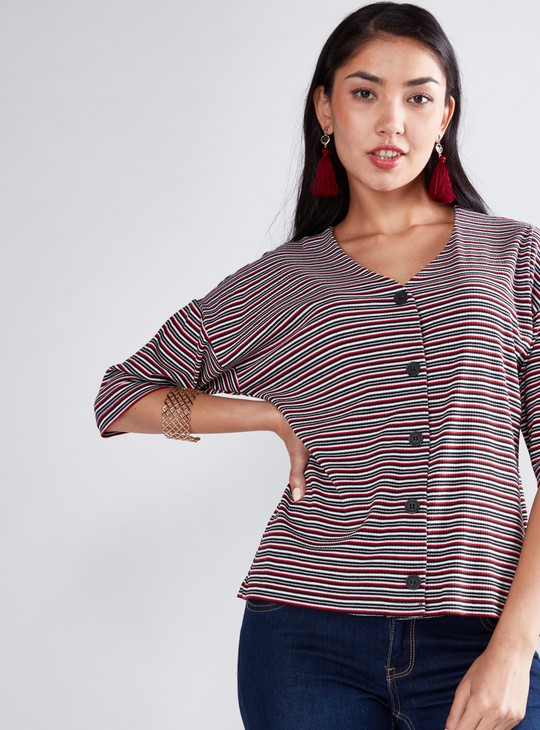 Striped Shirt with Drop Shoulder Sleeves