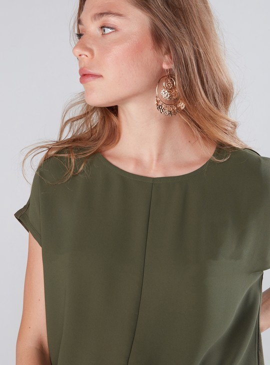 Round Neck Top with Cap Sleeves