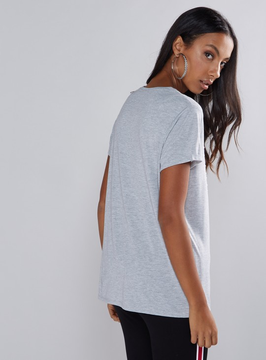 Printed and Embellished T-Shirt with Round Neck and Short Sleeves