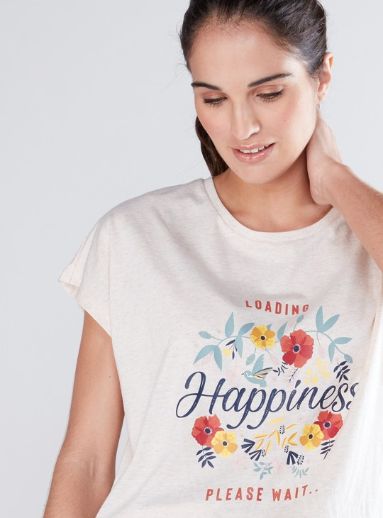 Printed Round Neck T-Shirt with Extended Cap Sleeves