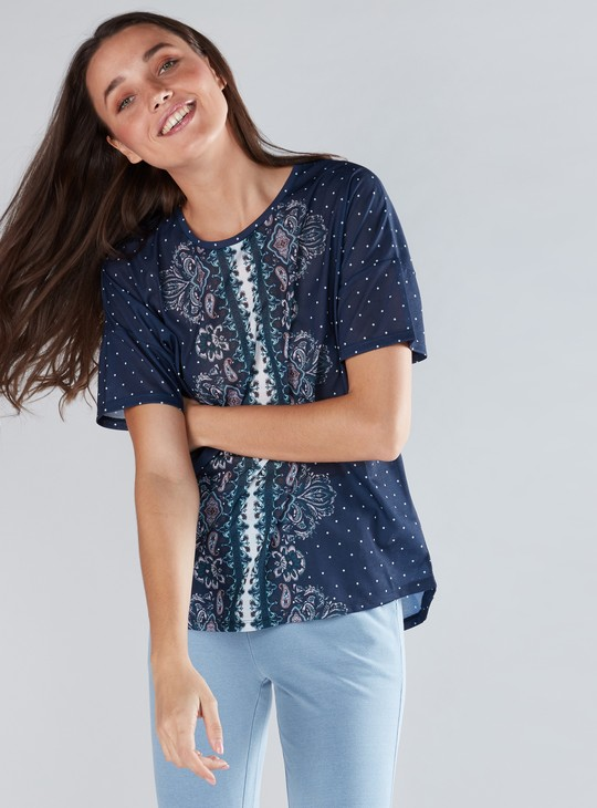 Printed Top with Round Neck and Drop Shoulder Sleeves