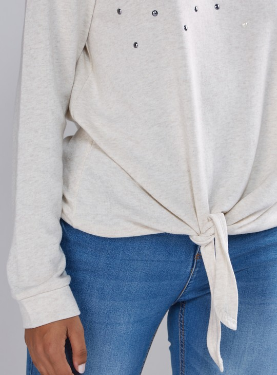 Embellished Sweat Top with Drop Shoulder Sleeves and Tie Ups